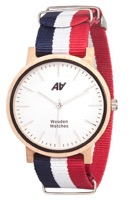 Швейцарские часы АА WOODEN WATCHES Maple Nato Blue-White-Red