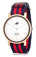 Швейцарские часы АА WOODEN WATCHES Maple Nato Red-Blue