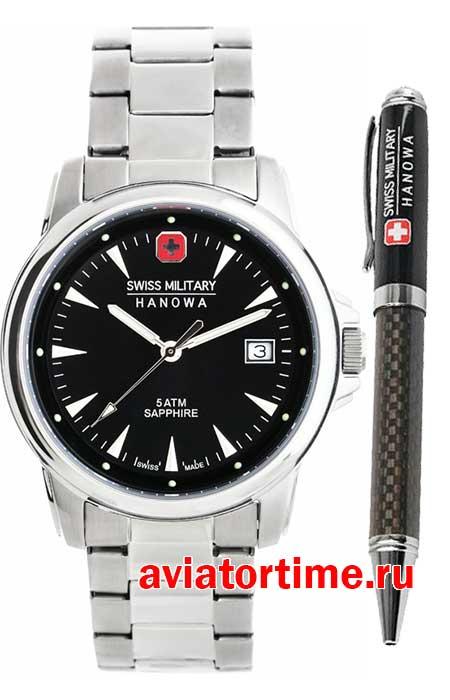 Мужские швейцарские часы Swiss Military Hanova 6-8010.04.007 Swiss Recruit  Gift Set 177d172e37eba